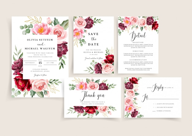 Piękny zestaw szablonów zaproszenia ślubne bordowy i rumieniec