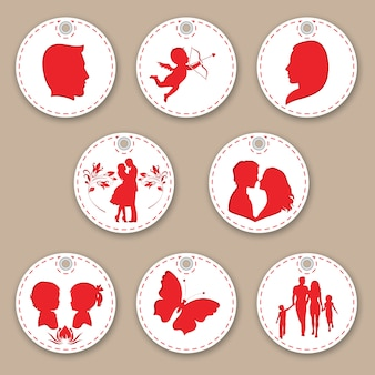 Piękny zestaw tagów kobieta, mężczyzna, rodzina, miłość i dzieci.
