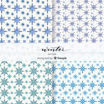 Piękny zestaw wzorów zimowych akwarela