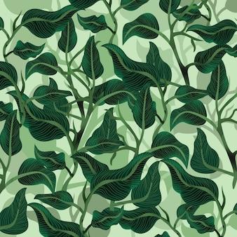 Piękny zielony liść ogród wzór.