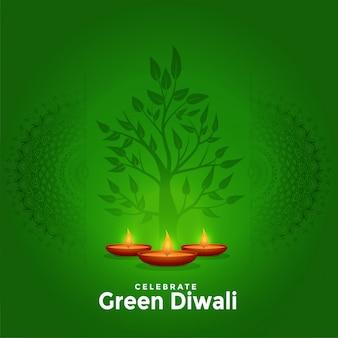 Piękny zielony szczęśliwy diwali kreatywne pozdrowienie tła