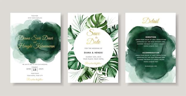 Piękny zielony tropikalny akwarela zaproszenie na ślub