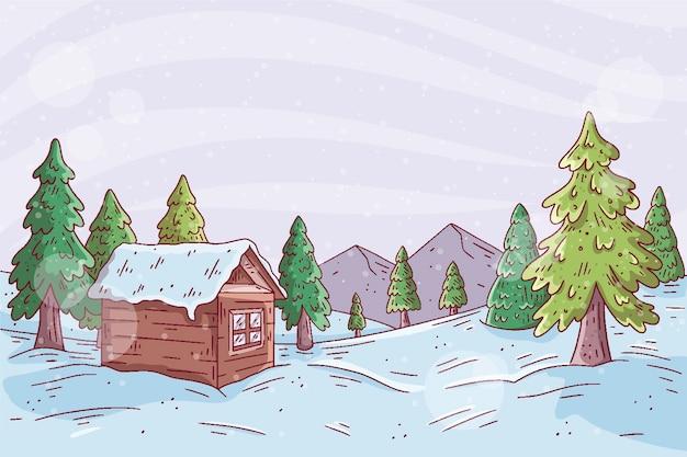 Piękny zimowy krajobraz tło z domu