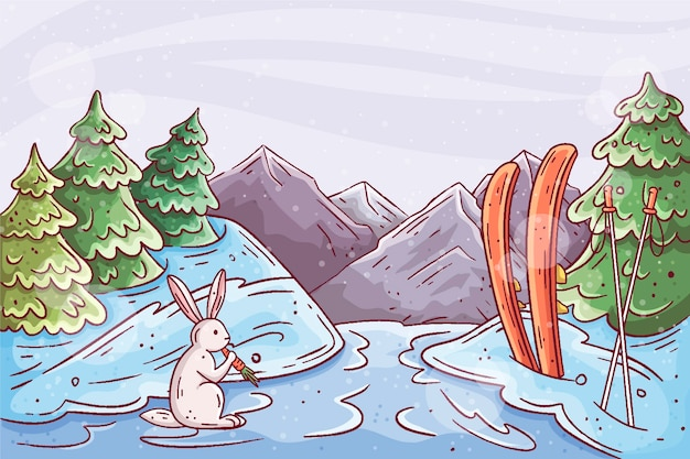 Piękny zimowy krajobraz tło z królikiem