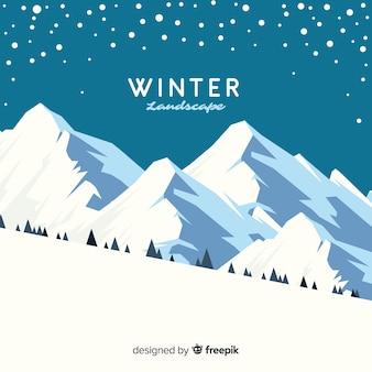 Piękny zimowy krajobraz tło