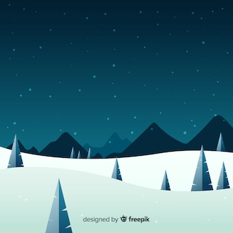 Piękny zimowy krajobraz z płaskiej konstrukcji