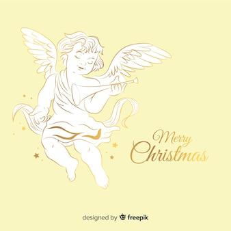Piękny złoty anioł bożonarodzeniowy