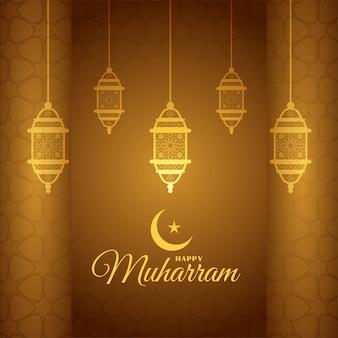 Piękny złoty szczęśliwy projekt karty z pozdrowieniami muharram