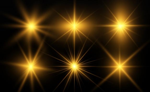 Piękny złoty wektor ilustracja gwiazdy na przezroczystym tle z złotym pyłem i błyszczy.