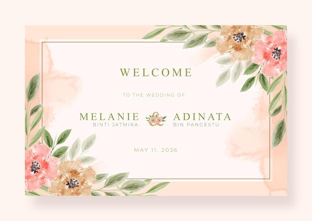Piękny znak powitalny ślub z kwiecistą akwarelą