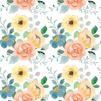 Piękny żółty kwiatowy wzór akwarela