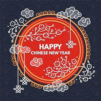 Pięknych, ręcznie rysowane chiński nowy rok