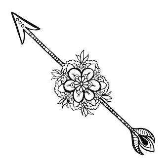 Pięknych, ręcznie rysowane czarno-białe kwiatowe strzały