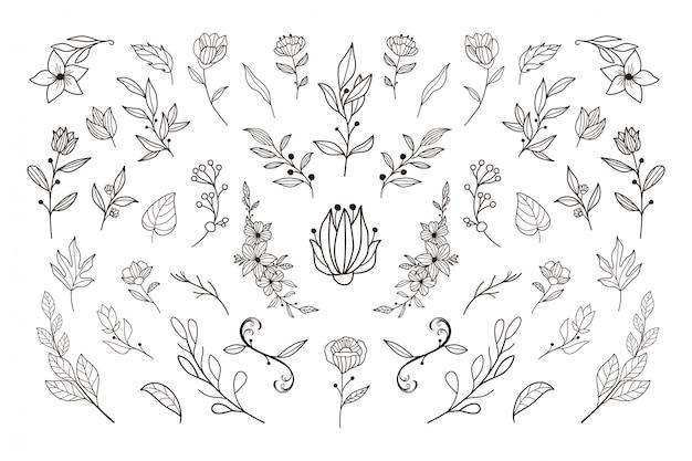 Pięknych, ręcznie rysowane kwiatowy szablon