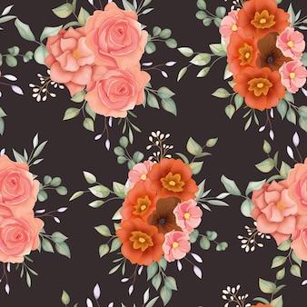 Pięknych, Ręcznie Rysowane Kwiatowy Wzór Z Kwiatowym Ornamentem Boho Darmowych Wektorów
