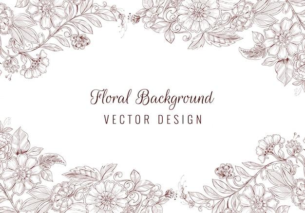 Pięknych, ręcznie rysowane ornament ślubny kwiatowy tło