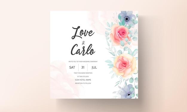 Pięknych, ręcznie rysowane projekt karty kwiatowy zaproszenie na ślub
