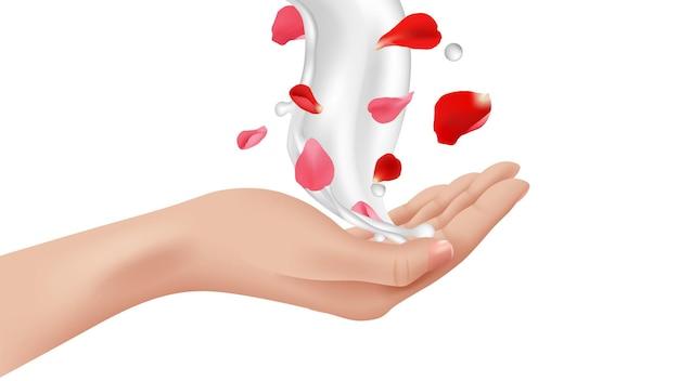 Pielęgnacja dłoni. kobiece realistyczne ramię, kremowy splash z płatkami róży. ilustracja wektorowa element projektu na białym tle reklamy. nawilżający i zapachowy, pełen wdzięku krem z czerwonym kwiatem