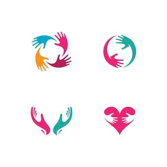 Pielęgnacja dłoni logo ikona biznes wektor symbol szablon