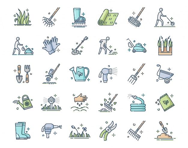 Pielęgnacja i napowietrzanie trawnika - zestaw ikon z kolorowymi konturami, serwis trawników, ogrodnictwo