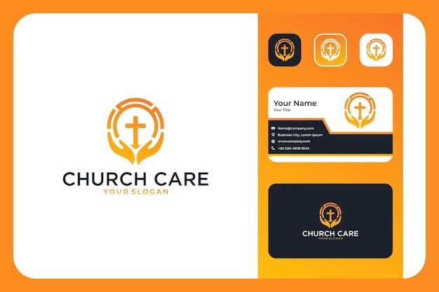 Pielęgnacja kościoła z projektem logo dłoni i wizytówką