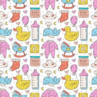 Pielęgnacja niemowląt słodkie ręcznie rysowane elementy doodledesign.