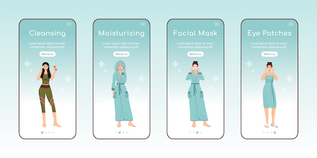 Pielęgnacja skóry kroki na pokładzie aplikacji mobilnej ekran płaski szablon.