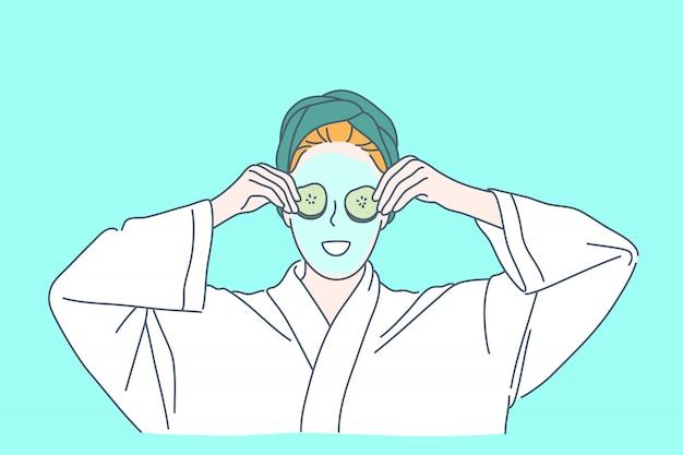 Pielęgnacja skóry, maska na twarz, koncepcja pielęgnacji przeciwstarzeniowej