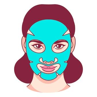 Pielęgnacja skóry, materiałowa maska na twarz, uroda. ilustracji wektorowych.