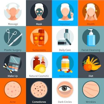 Pielęgnacja skóry płaski kolorowy zestaw elementów leczenia skóry naturalne i tworzą symbole kosmetyków na białym tle ilustracji wektorowych
