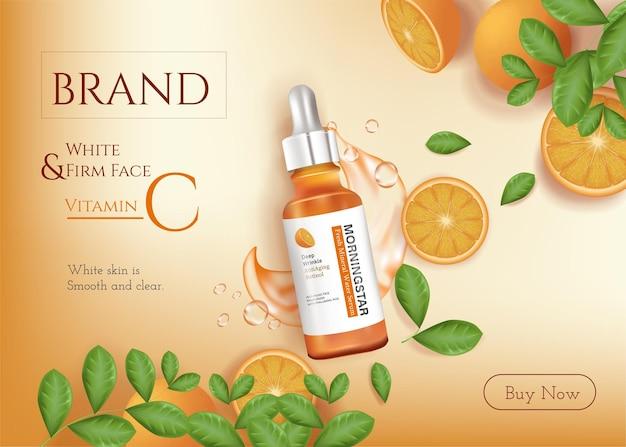 Pielęgnacja skóry reklamy esencji witaminy c z pokrojoną pomarańczową surowicą i tłem ilustracji butelki kroplowej
