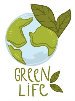 Pielęgnacja środowiska i ochrona przyrody planety ziemia. na białym tle glob z lasami i oceanami, przyjazny dla środowiska oznacza etykietę lub logo z napisem. zero marnowania. wektor w stylu płaskiej