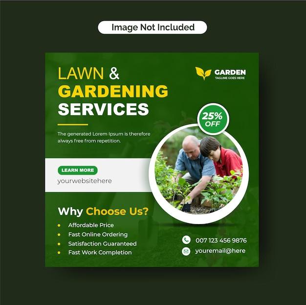 Pielęgnacja trawników lub ogrodnictwo usługi ogrodnicze post instagram i szablon ulotki w mediach społecznościowych