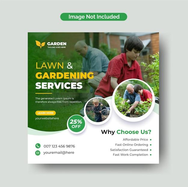 Pielęgnacja trawników lub usługi ogrodnicze na instagramie post w mediach społecznościowych i szablon ulotki kwadratowej