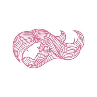 Pielęgnacja włosów kobiety piękno logo inspiracja salon wektor twarz