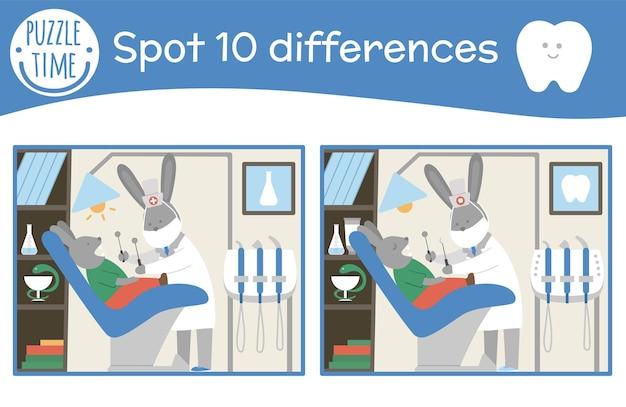 Pielęgnacja zębów znajdź różnice gry dla dzieci. higiena jamy ustnej w przedszkolu z uroczym dentystą i pacjentem. klinika stomatologiczna puzzle z uroczymi zabawnymi uśmiechniętymi postaciami dla dzieci.