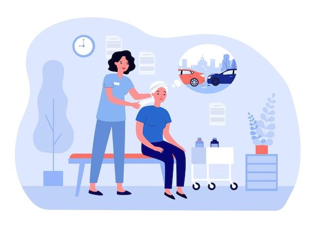 Pielęgniarka bandażowanie głowy smutnej pacjentki po wypadku samochodowym. kobieta myśli o pojazdach wpadając na płaskie wektor ilustracja. medycyna, koncepcja wypadku na baner, projekt strony internetowej lub strona docelowa