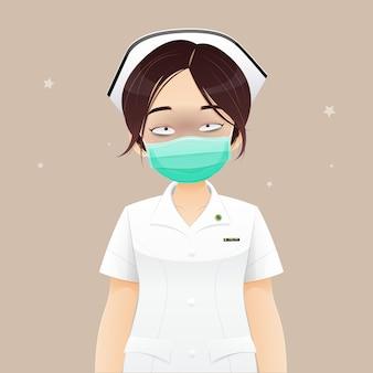 Pielęgniarka cierpi na brak snu, ponieważ pracuje w godzinach nadliczbowych, ilustracji wektorowych w projektowaniu postaci