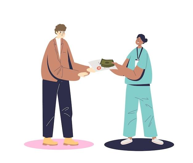 Pielęgniarka daje pacjentowi pieniądze i rachunek za raport medyczny dla ilustracji ubezpieczenia zdrowotnego