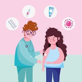 Pielęgniarka i kobieta z bandażem pomocy w ramię ilustracji medycznych szczepień opieki zdrowotnej