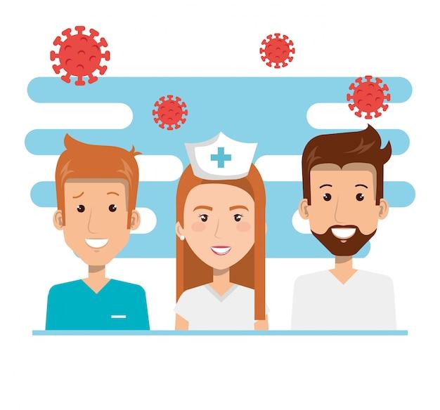 Pielęgniarka i ratownicy medyczni z cząstkami covid 19 ilustracji