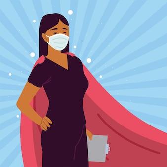 Pielęgniarka kobieta peleryna postać superbohatera