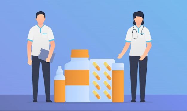 Pielęgniarka mężczyzna i kobieta stojąc z pigułki narkotyków i kapsułki z nowoczesnym stylu płaski