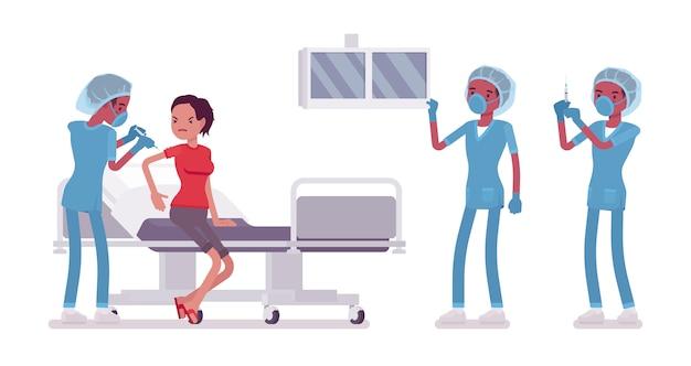 Pielęgniarka na zabieg medyczny. młody człowiek w szpitalnym mundurze robiącym zastrzyk lub operację. koncepcja medycyny i opieki zdrowotnej. styl ilustracja kreskówka na białym tle