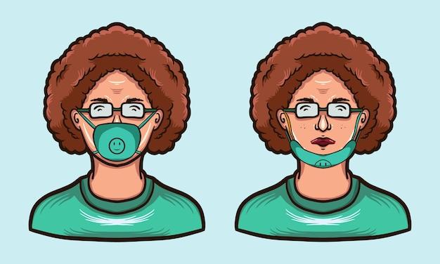Pielęgniarka nosić maskę ilustracja projekt otwarta maska