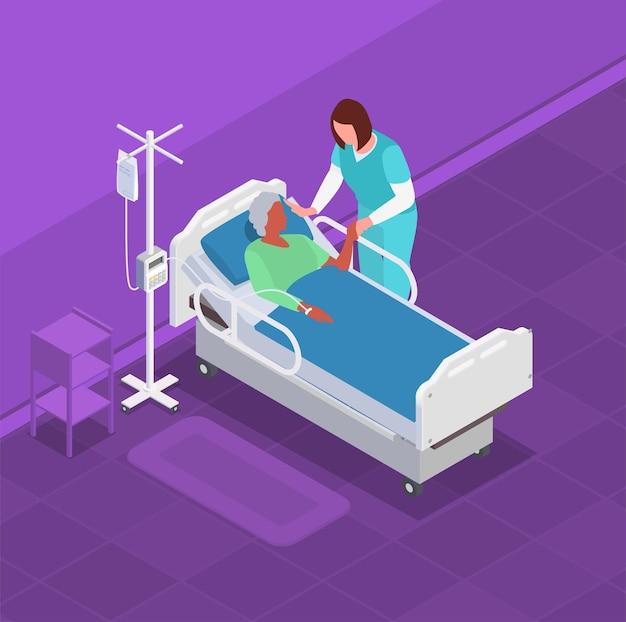 Pielęgniarka opiekująca się starszą kobietą na izometrycznej ilustracji łóżka szpitalnego