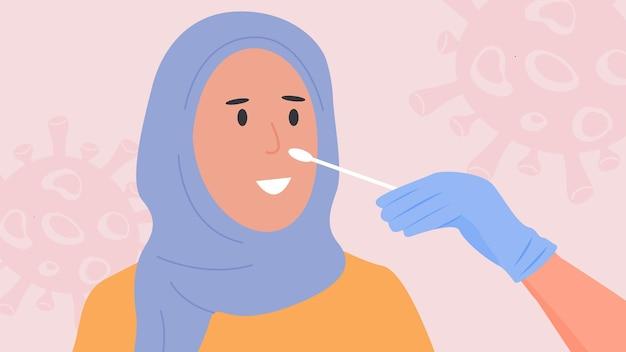 Pielęgniarka pobiera wymaz z nosa covid-19 pcr test. muzułmańska kobieta w hidżabie robi testy na koronawirusa. wektor