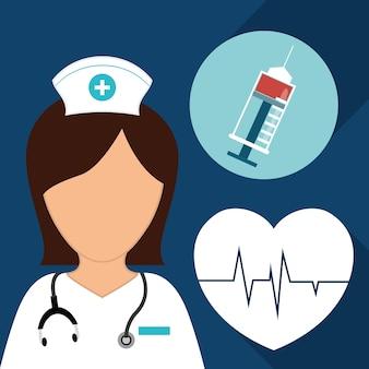 Pielęgniarka strzykawki bicia serca opieki medycznej