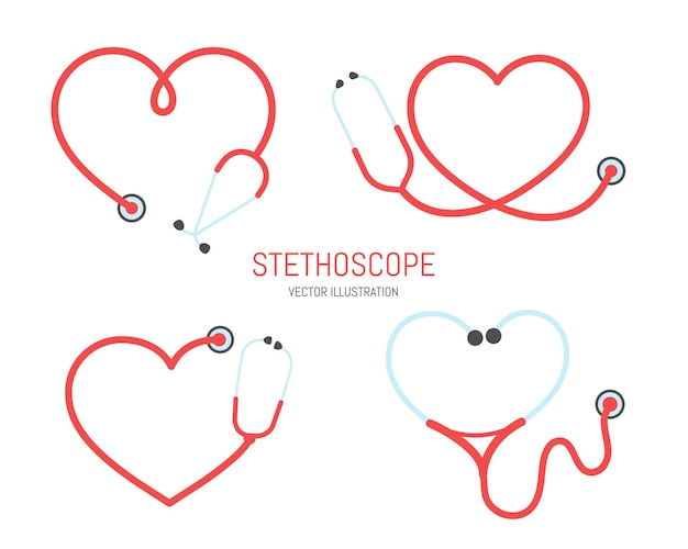 Pielęgniarka sylwetka stetoskop stetoskop w kształcie serca rama linia stetoskop izolowany na tle.