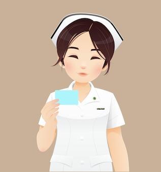 Pielęgniarka trzyma dowód osobisty - na białym tle na brązowym tle. ilustracja wektorowa i projektowanie postaci